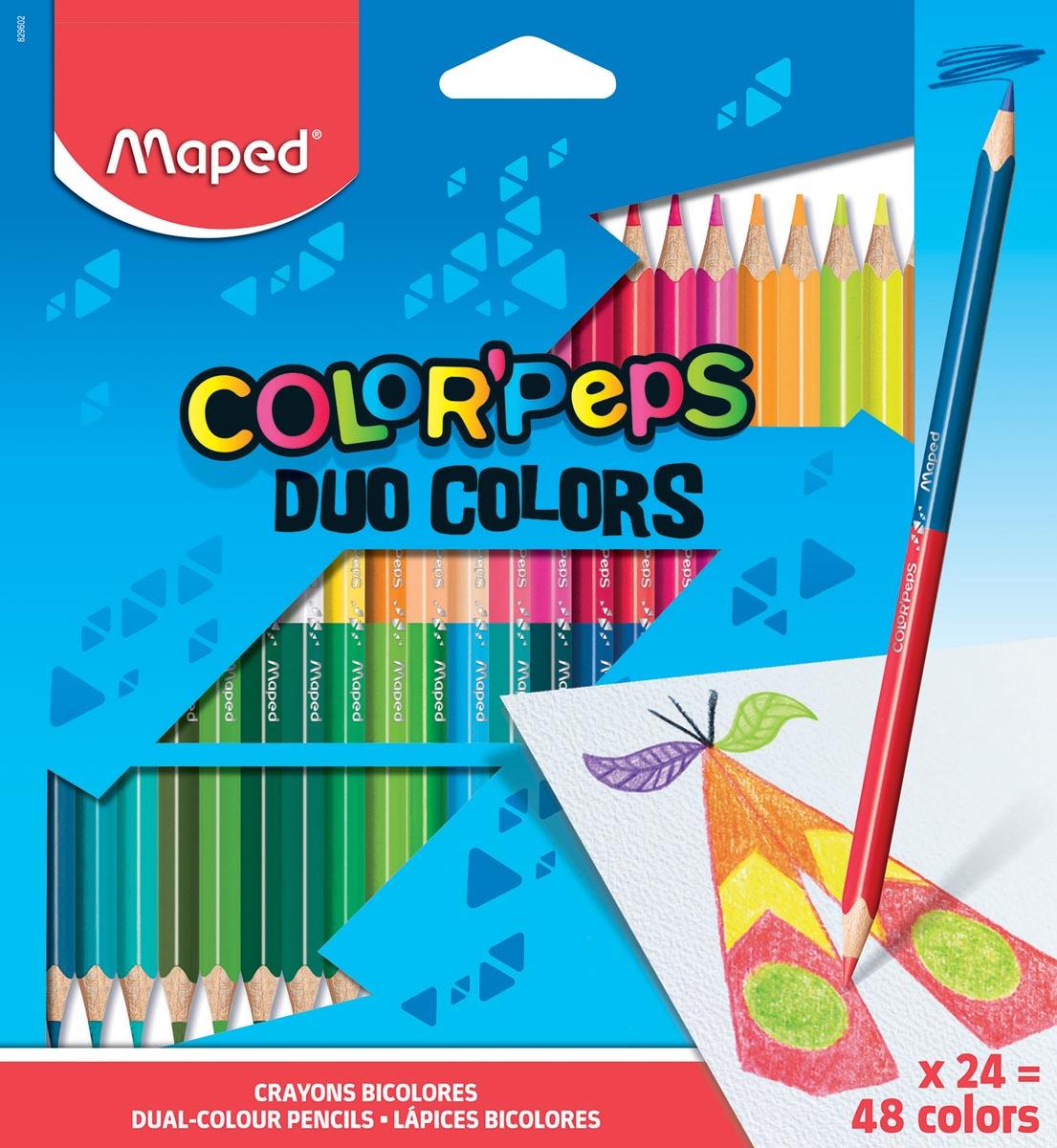 Maped driehoekig kleurpotlood Color'Peps Duo, 24 potloden in een kartonnen etui = 48 kleuren