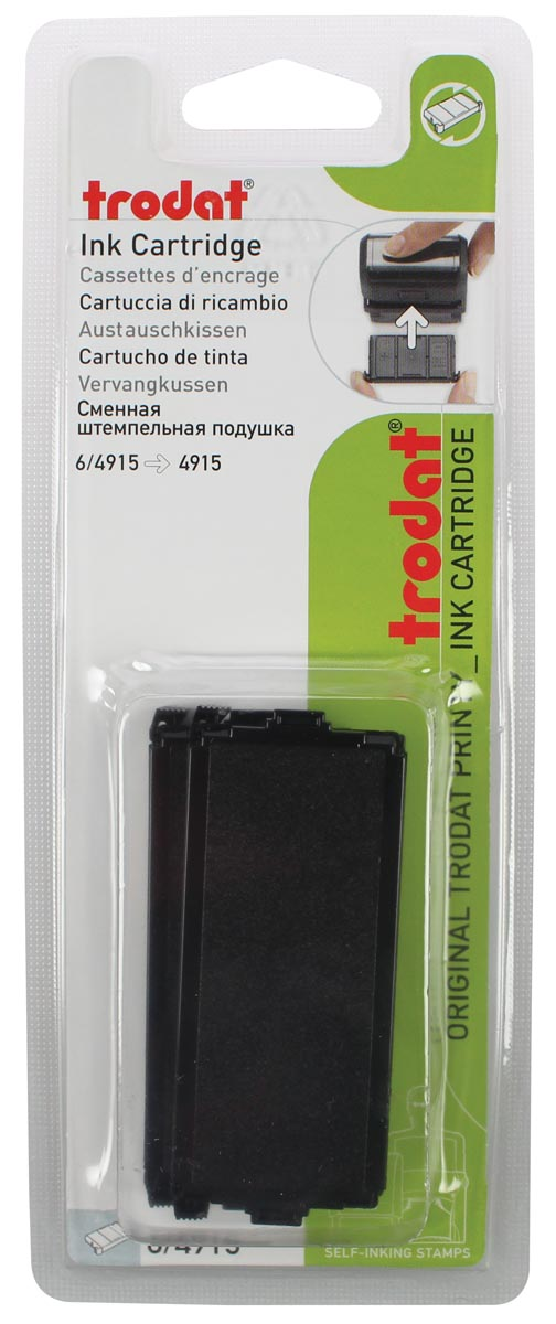 Trodat vervangkussen zwart, voor stempel 4915, blister met 2 stuks