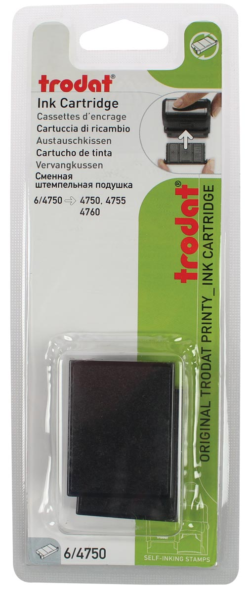 Trodat vervangkussen zwart, voor stempel 4750/4755, blister 2 stuks