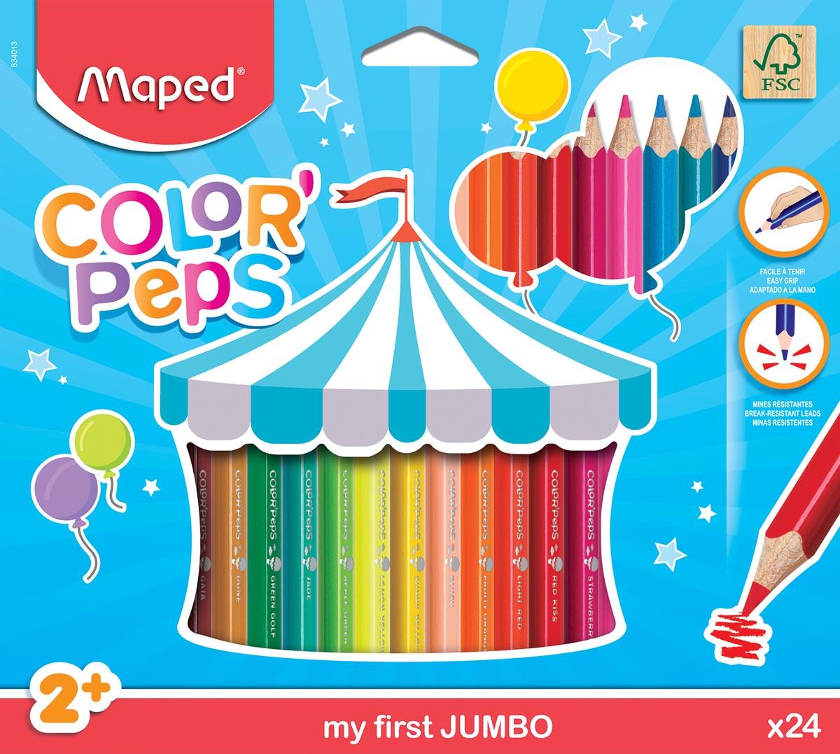 Maped kleurpotlood Color'Peps Jumbo Early Age, 24 potloden in een kartonnen etui