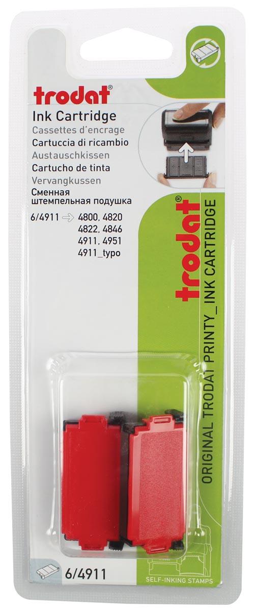 Trodat vervangkussen rood, voor stempel 4911/4820/4822/4846, blister met 2 stuks