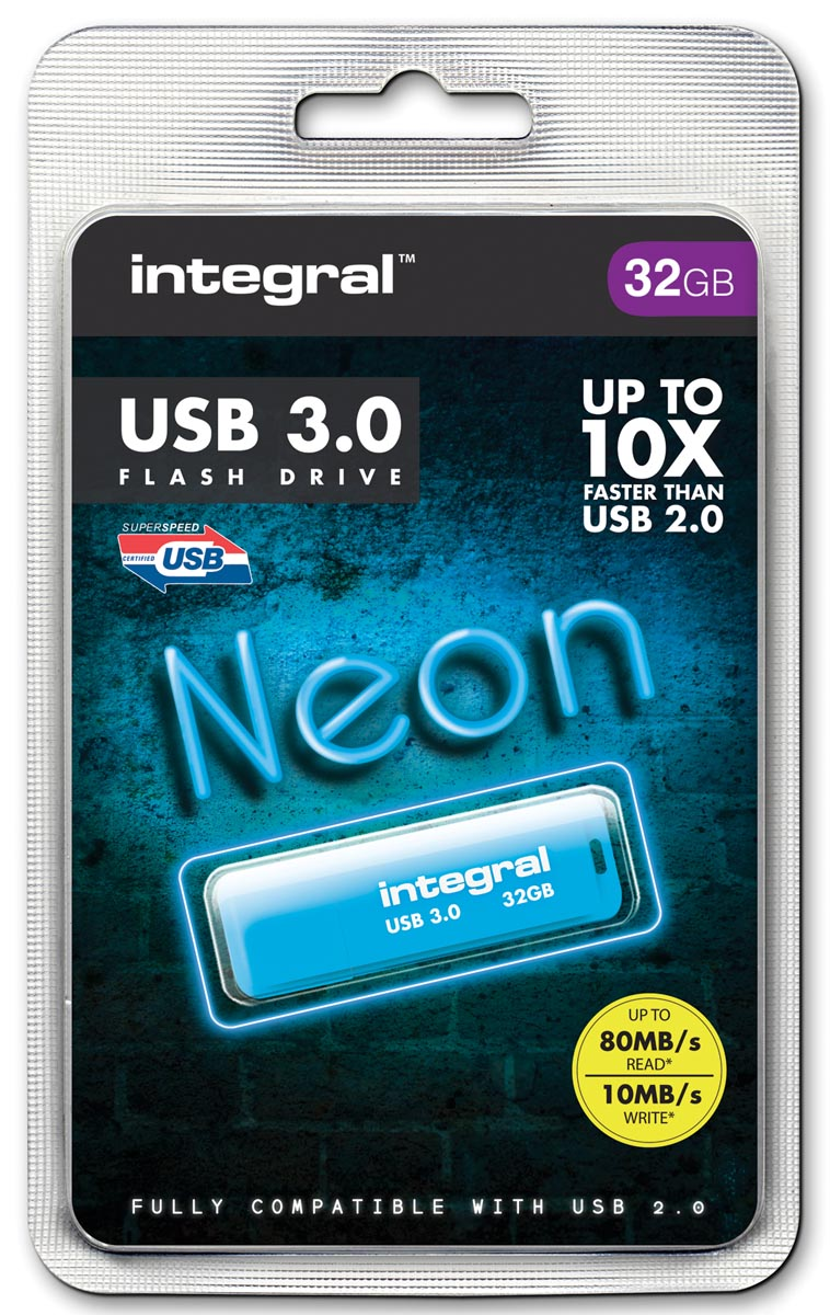 Integral Neon USB 3.0 stick, 32 GB, blauw