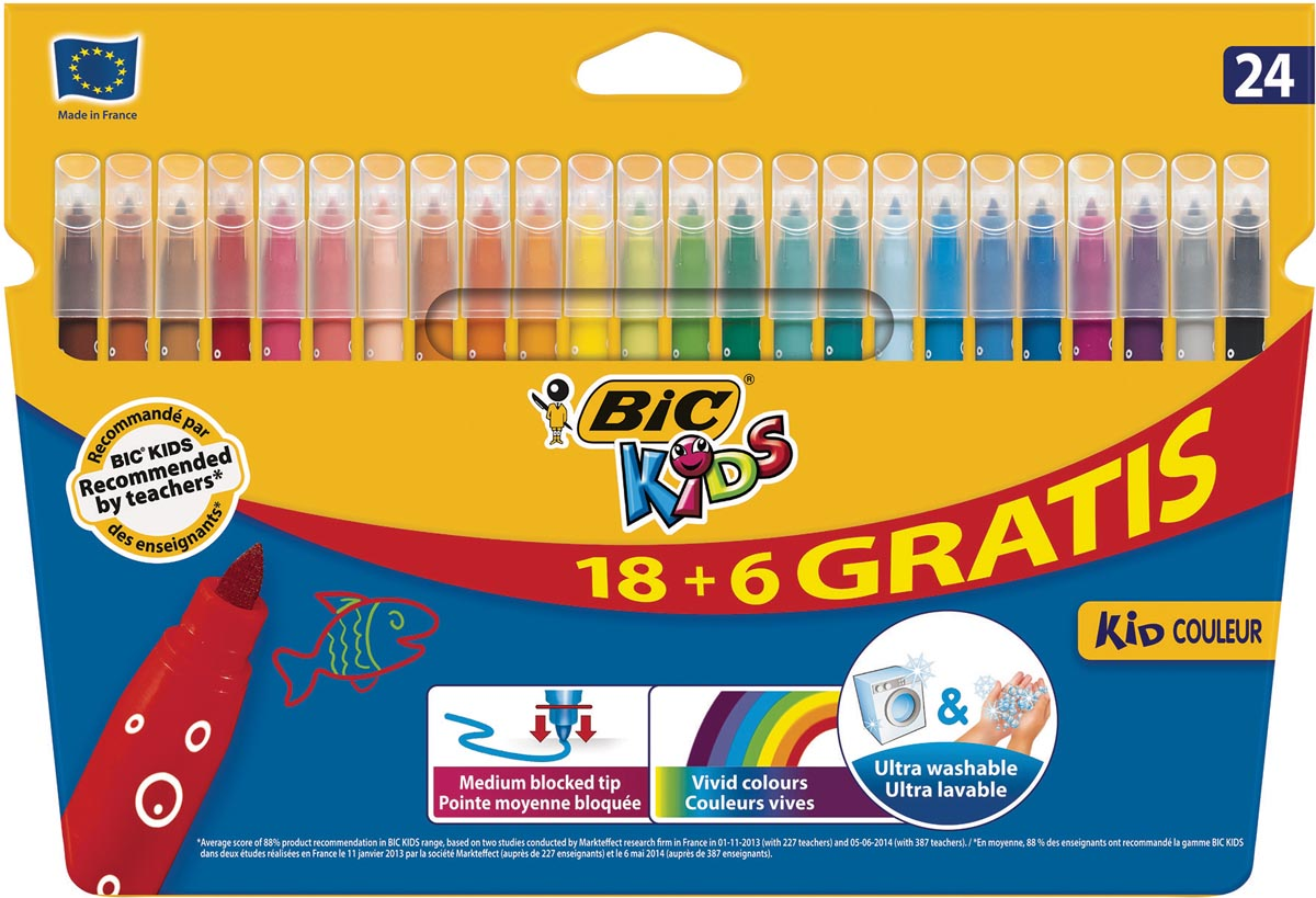 Bic Kids viltstiften Kid Couleur, ophangdoosje met 18 + 6 gratis