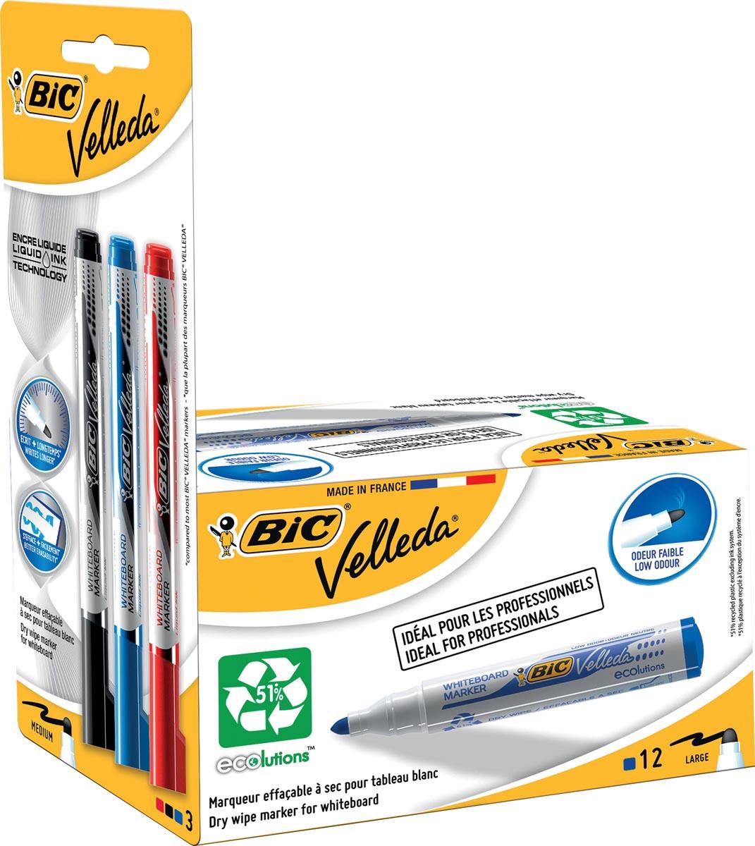 Velleda whiteboardmarker 1701 blauw, doos met 12 stuks + Liquid Ink whiteboardmarker, blister met 3
