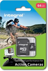 Integral microSDXC geheugenkaart voor actie camera's, klasse 10, 64 GB