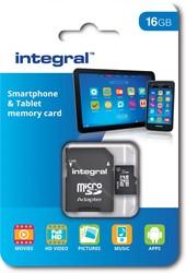 Integral microSDHC geheugenkaart voor smartphones en tablets, klasse 10, 16 GB