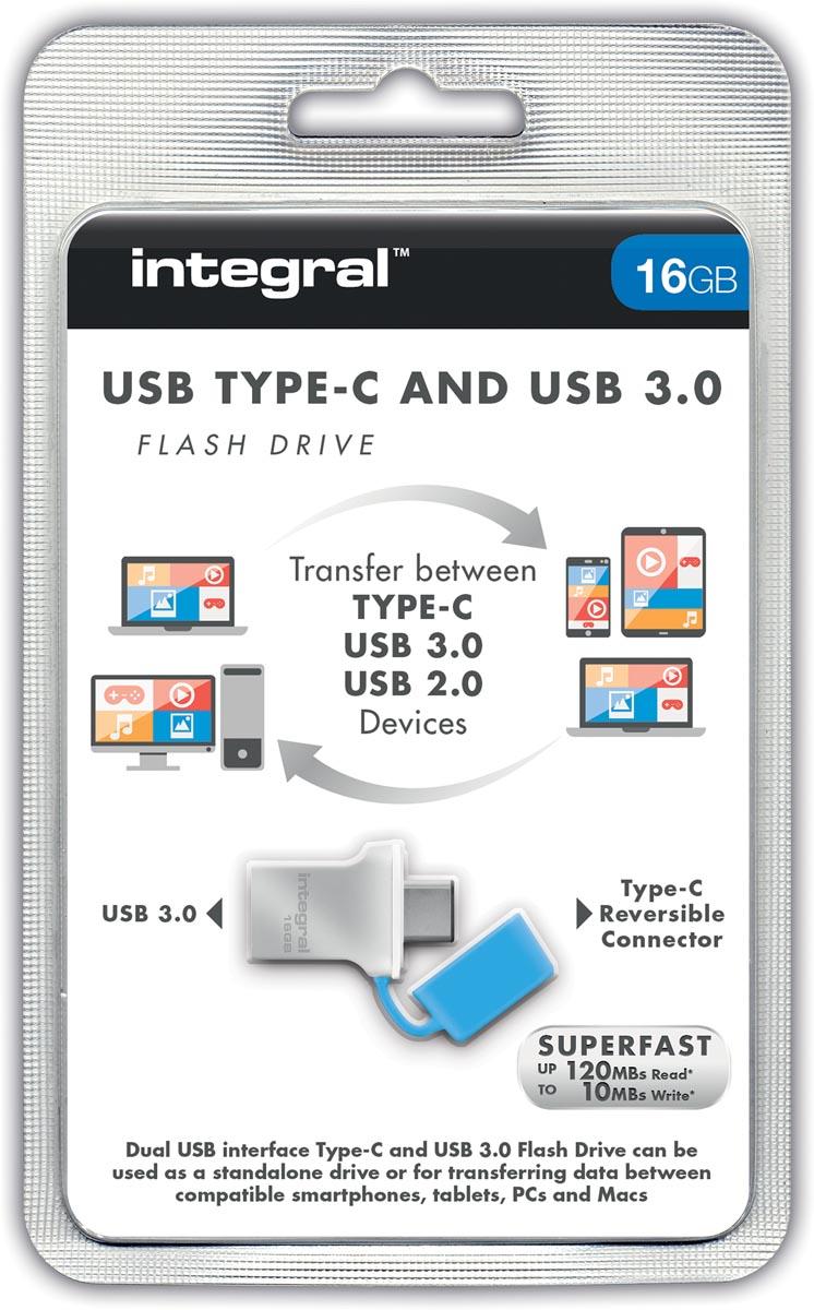 Integral Fusion USB 3.0 stick, 16 GB, zilver