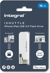 Integral iShuttle USB 3.0 stick, 16 GB, wit