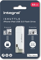 Integral iShuttle USB 3.0 stick, 64 GB, wit