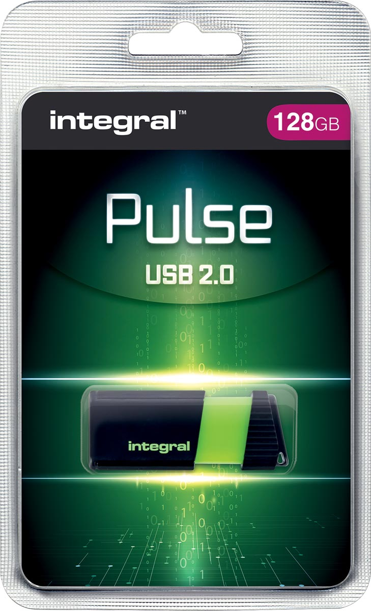 Integral Pulse USB 2.0 stick, 128 GB, zwart/geel