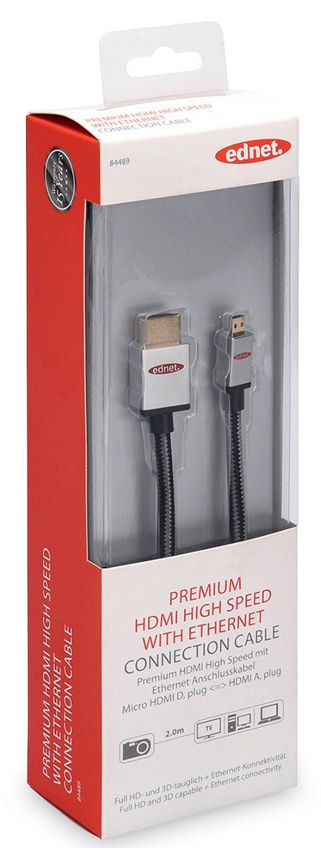 ednet HDMI Aansluitkabel [1x HDMI-stekker <=> 1x HDMI-stekker D micro] 2 m Zwart-zilver