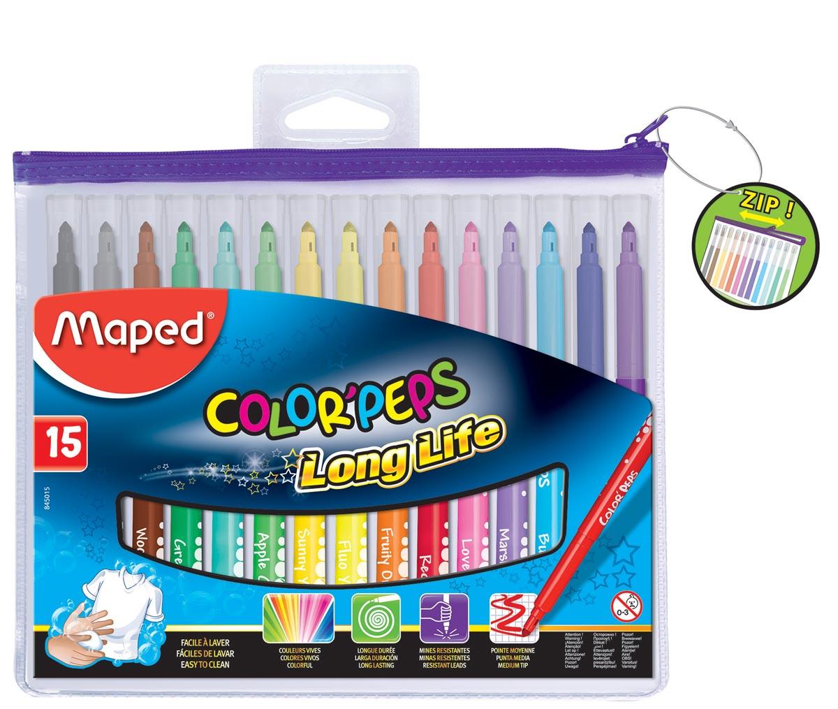 Maped Viltstift ColorPeps Long Life, etui van 15 stuks