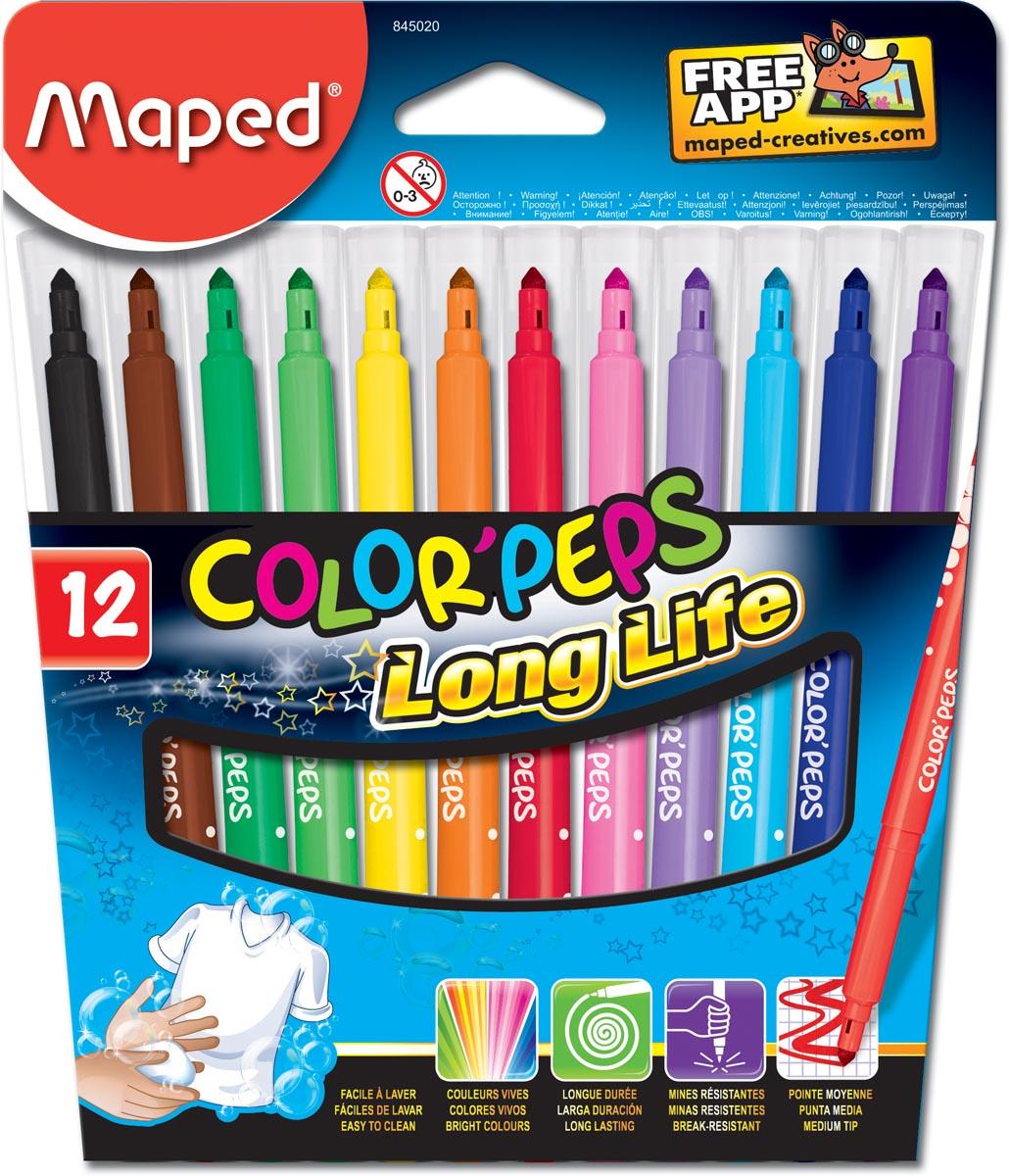 Maped Viltstift Color'Peps 12 stiften in een kartonnen etui
