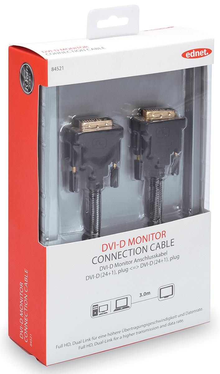 ednet DVI Aansluitkabel [1x DVI-stekker 24+1-polig <=> 1x DVI-stekker 24+1-polig] 3 m Zwart