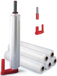 Dispenser voor stretchfolie, voor rollen van 40-50 cm breedte