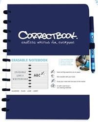 Correctbook A4 gelijnd herbruikbaar schrift, blauw