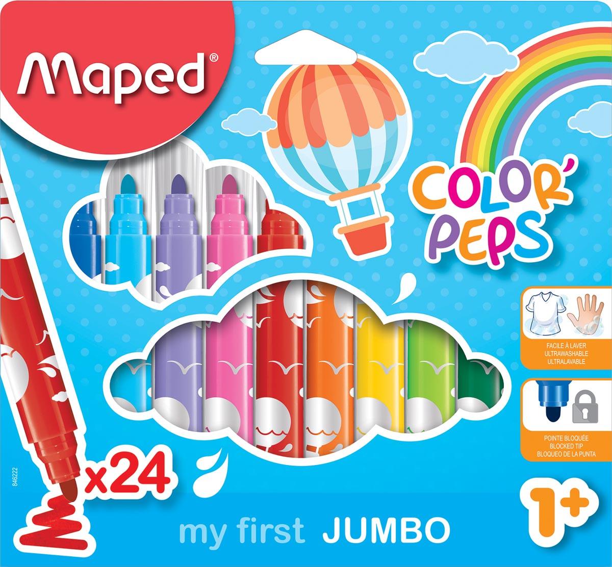 Maped viltstift Color'Peps Jumbo Early Age, etui van 24 stuks in geassorteerde kleuren