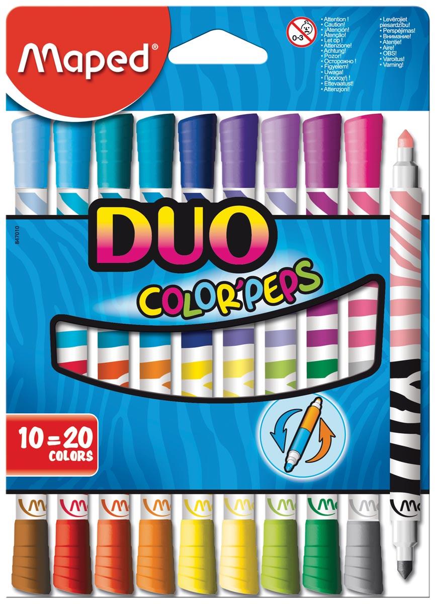 Maped Viltstift Color'Peps Duo, blister met 10 stuks