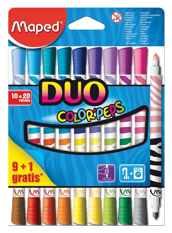 Maped viltstift ColorPeps Duo, blister met 9 + 1 gratis
