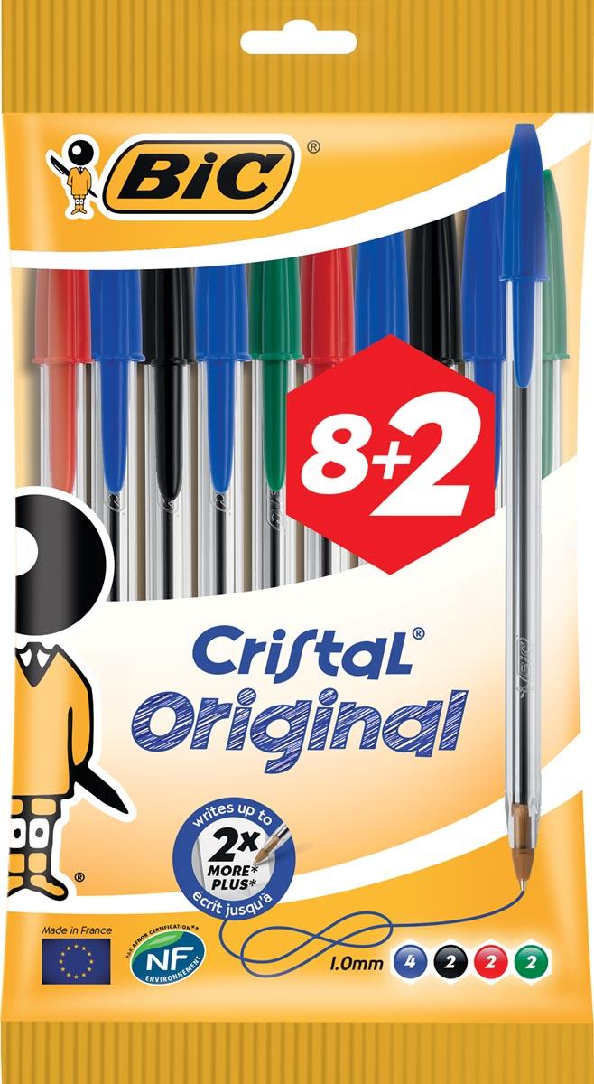 Bic balpen Cristal Medium, couleurs assorties, blister 8 + 2 GRATIS