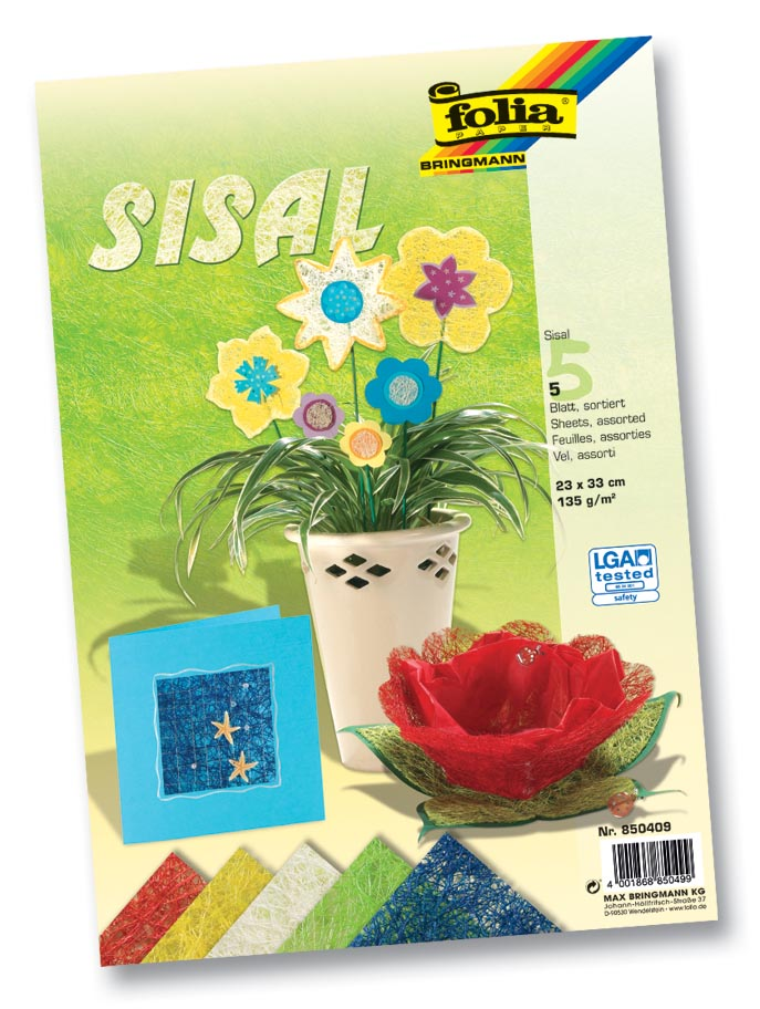 Folia Sisalpapier Color (koningsblauw, lichtgroen, naturel, banaangeel, warmrood)