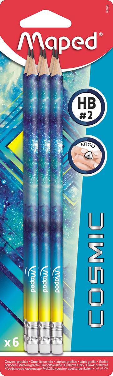 Maped potlood Cosmic Teens, met gum, geassorteerde kleuren, blister met 6 stuks