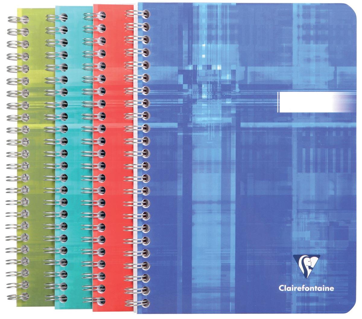 Clairefontaine schrift ft 14,8 x 21 cm, 180 bladzijden, gelijnd, spiraalbinding, geassorteerde kleur