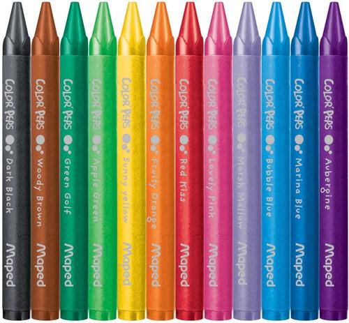 Maped waskrijt Color'Peps, doos van 12 stuks in geassorteerde kleuren-2