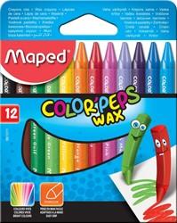 Maped waskrijt Color'Peps, doos van 12 stuks in geassorteerde kleuren