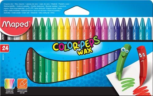 Maped waskrijt Color'Peps, doos van 24 stuks in geassorteerde kleuren