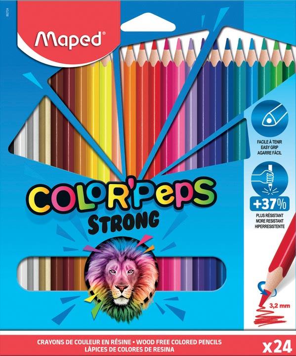 Maped kleurpotlood Color'Peps Strong, 24 potloden in een kartonnen etui