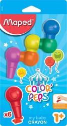 Maped Color'Peps plastic krijt, blister met 6 stuks in geassorteerde kleuren