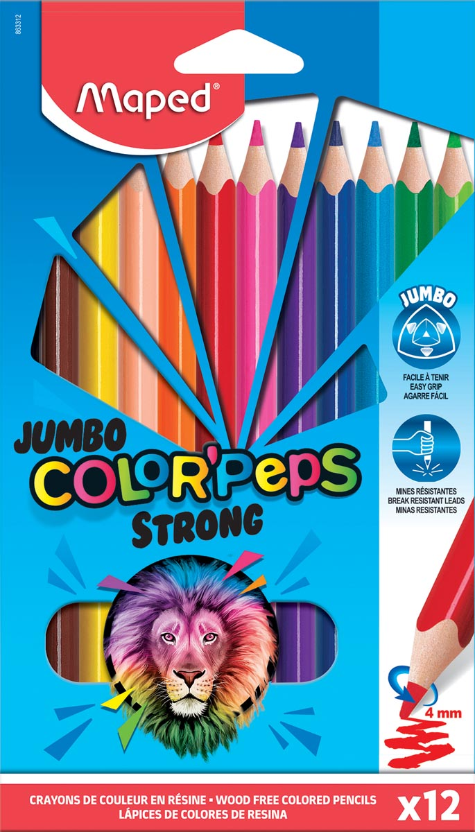 Maped kleurpotlood Color'Peps Jumbo Strong, 12 potloden in een kartonnen etui