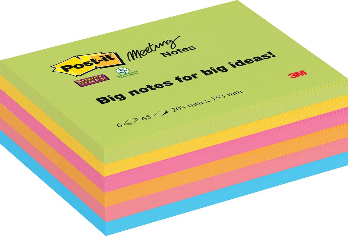 Post-it Super Sticky Meeting Notes, ft 203 x 152 mm, geassorteerde kleuren, 45 vel, pak van 6 blokke