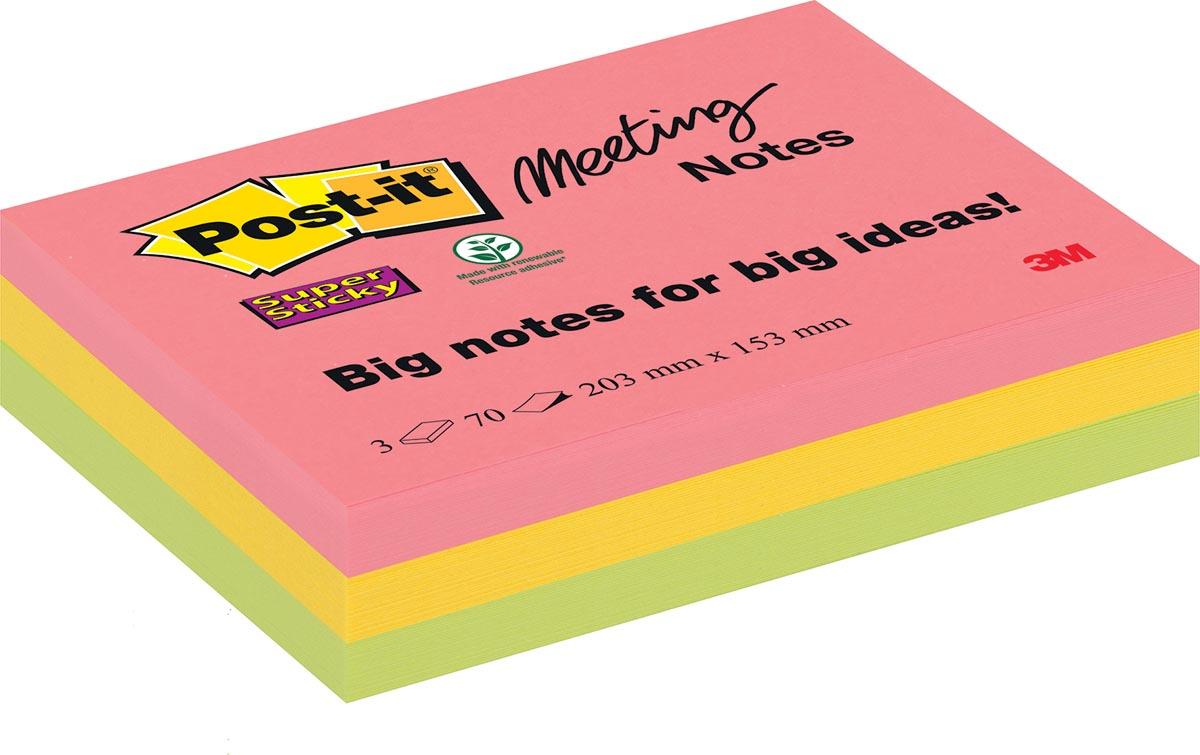 Post-it Super Sticky Meeting Notes, ft 203 x 152 mm, geassorteerde kleuren, 70 vel, pak van 3 blokke