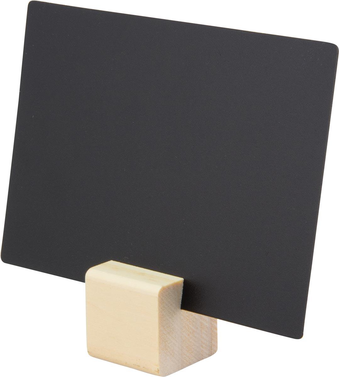 Securit krijtbordjes met teak houder, set van 6 stuks
