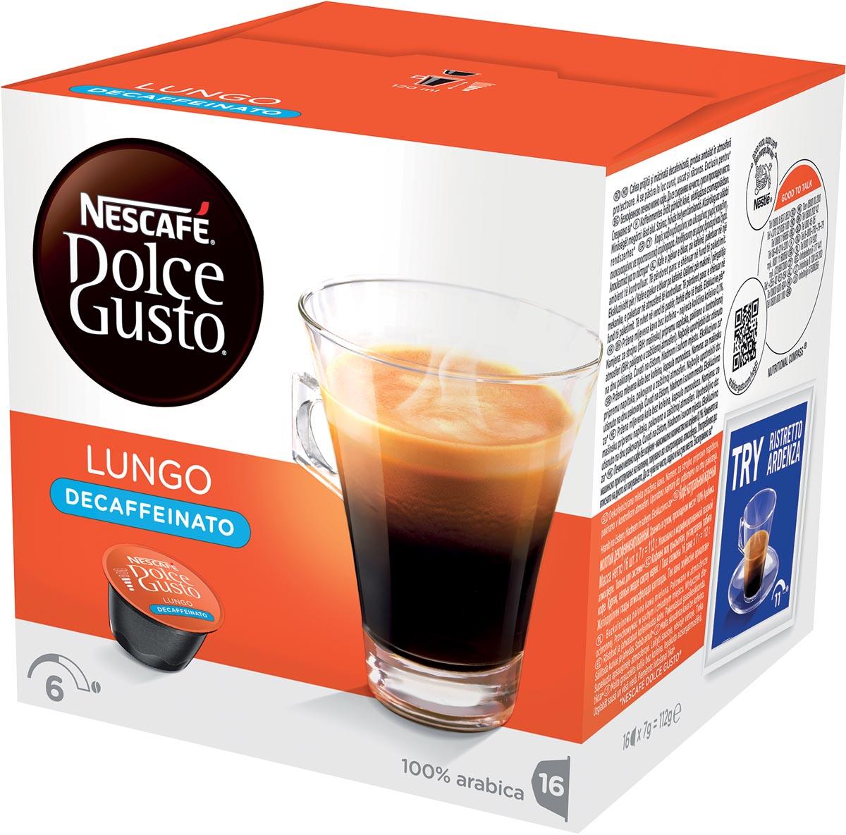 Nescafé Dolce Gusto koffiepads, Lungo Decaffeinato, pak van 16 stuks