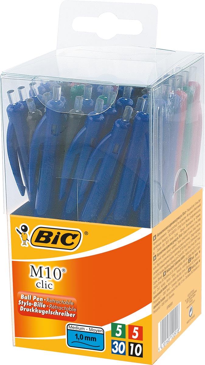 Bic balpen M10 Clic, doos met 50 stuks in geassorteerde kleuren