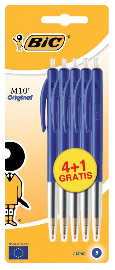 Bic balpen M10 Clic schrijfbreedte 0,4 mm, medium punt, blauw, blister 4 + 1 gratis