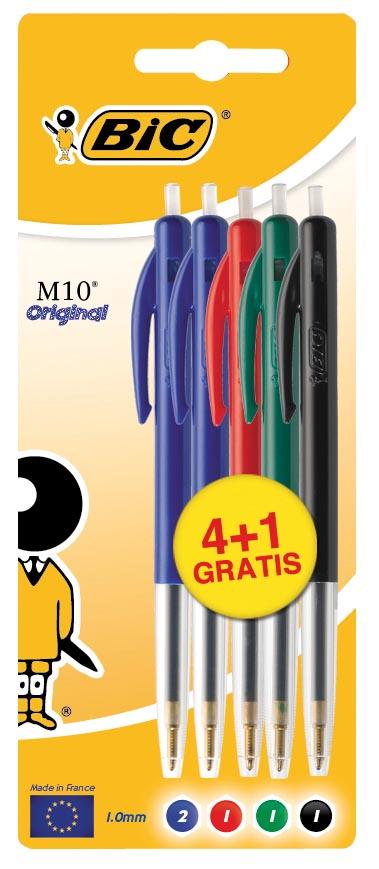 Bic balpen M10, blister 4 + 1 gratis in geassorteerde kleuren