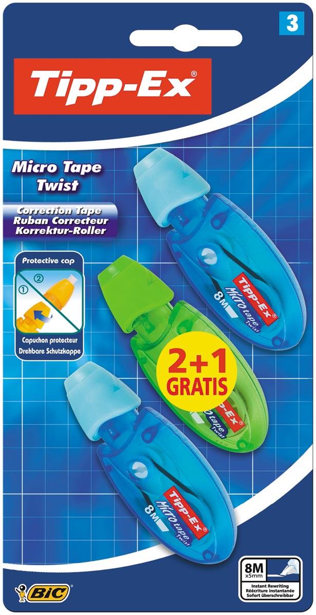 Tipp-Ex correctieoller Micro Tape Twist blauw en groen, blister 2+1 gratis