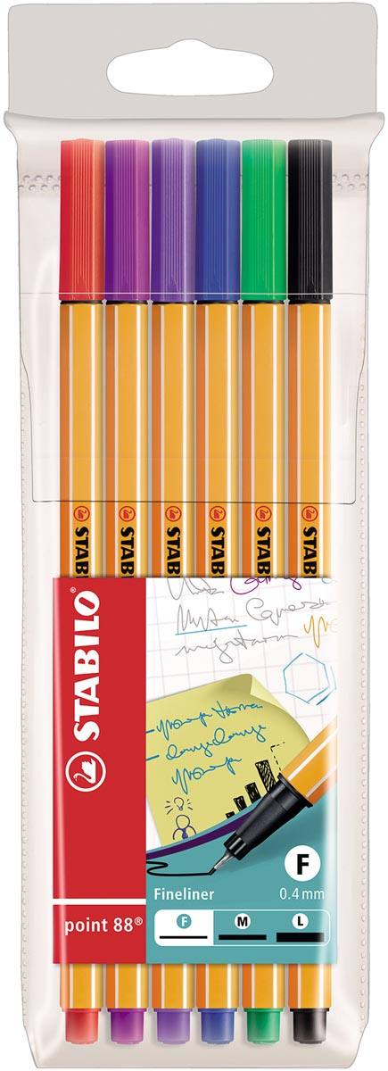 STABILO point 88 fineliner, etui van 6 stuks in geassorteerde kleuren