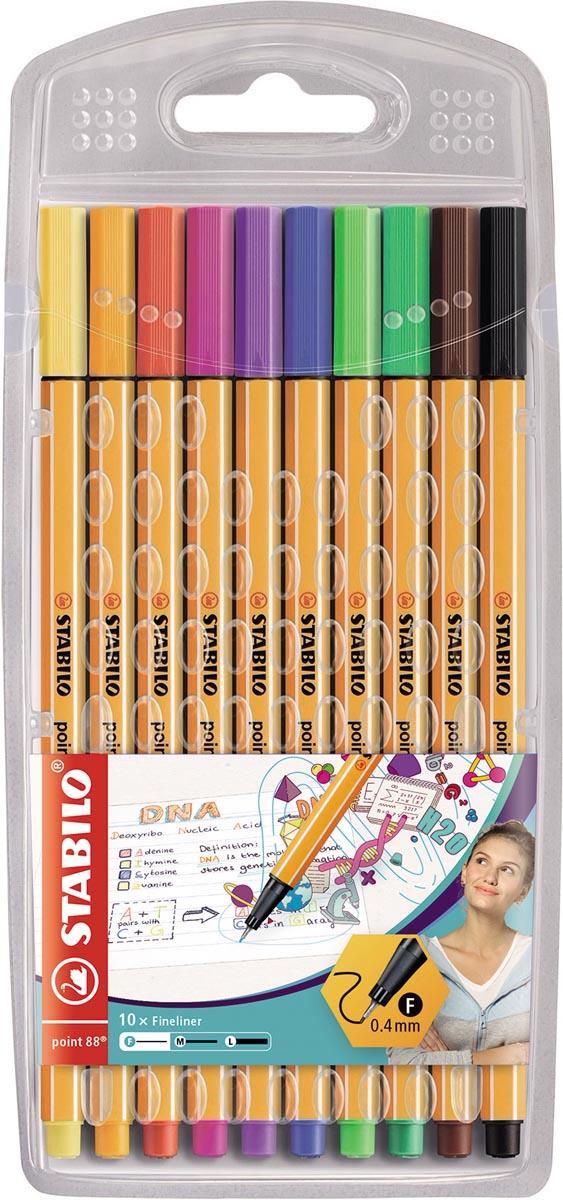 STABILO point 88 fineliner, etui van 10 stuks in geassorteerde kleuren