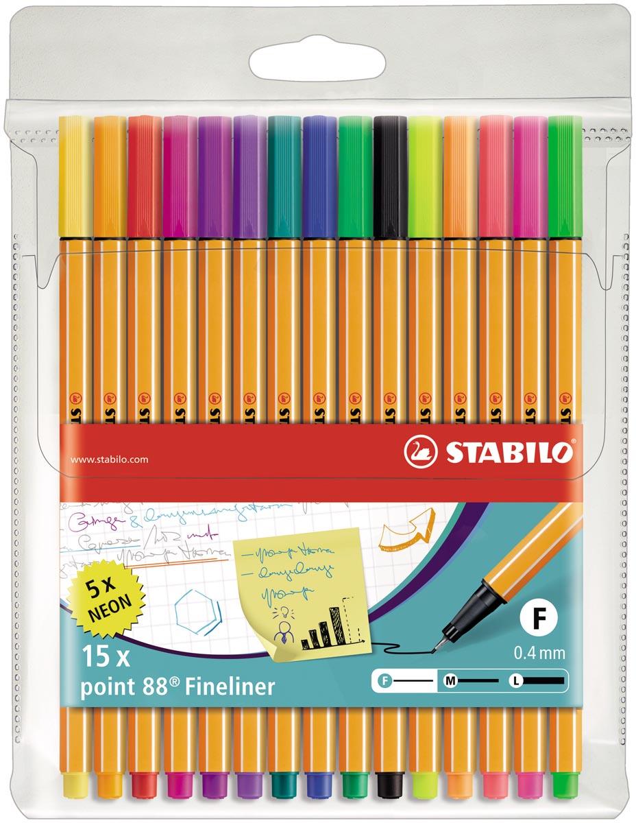 STABILO point 88 fineliner, etui van 15 stuks in geassorteerde kleuren