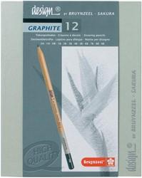 Design by Bruynzeel - Sakura tekenpotlood Graphite, doos met 12 potloden
