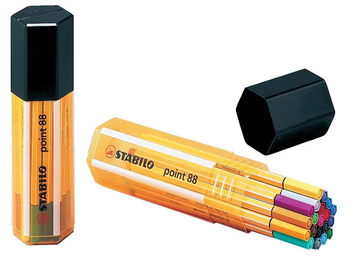 STABILO point 88 fineliner, Big Point box, 20 stuks in geassorteerde kleuren