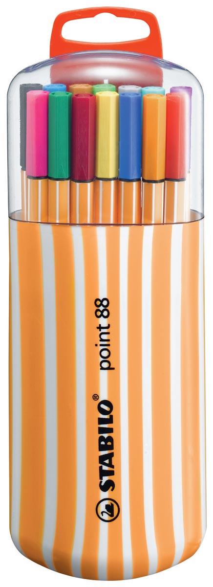 STABILO point 88 fineliner, Zebrui box, etui van 20 stuks in geassorteerde kleuren