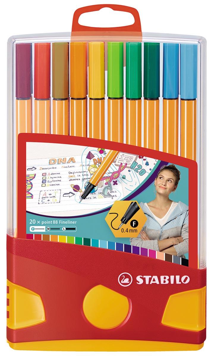 STABILO point 88 fineliner, Colorparade, rood-oranje doos, 20 stuks in geassorteerde kleuren