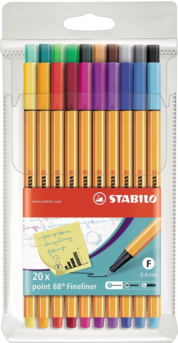 STABILO point 88 fineliner, etui van 20 stuks in geassorteerde kleuren