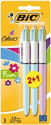Bic balpen 4 Colours Fashion, blister met 2 + 1 gratis